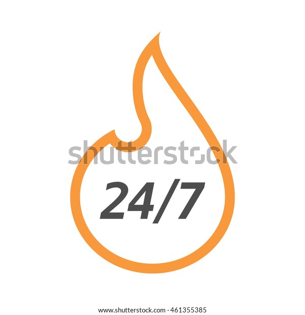 Illustration of an isolated line art flame with    the text 24/7