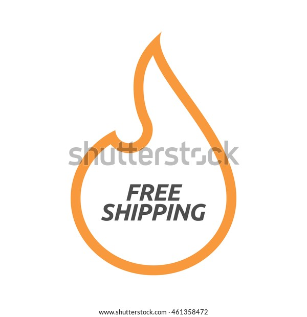 Illustration of an isolated line art flame with    the text FREE SHIPPING