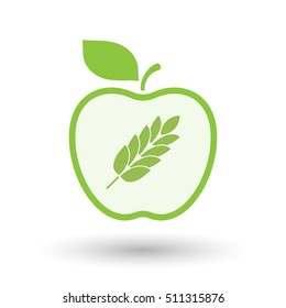 Illustration of an isolated line art healthy apple fruit vector icon with  a wheat plant icon