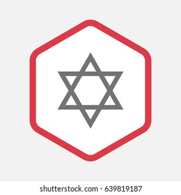 Illustration of an isolated line art hexagon with a David star
