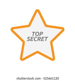 Illustration of an isolated line art star icon with    the text TOP SECRET