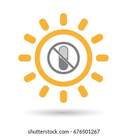 Illustration of an isolated line art Sun with  a pill  in a not allowed signal