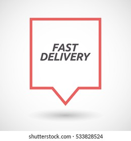 Illustration of an isolated line art tooltip with  the text FAST DELIVERY