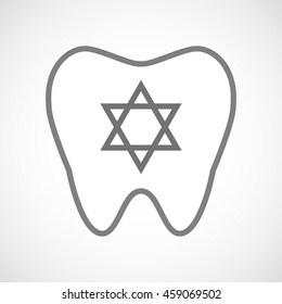 Illustration of an isolated line art tooth icon with a David star