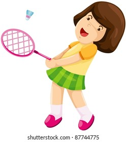 Illustration Of Isolated Little Girl Playing Badminton On White