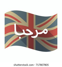 Illustration of a isolated long shadow United Kingdom flag with  the text Hello in the Arab language