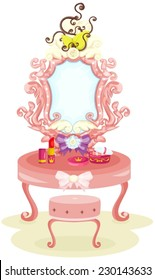 illustration of isolated luxury dressing table