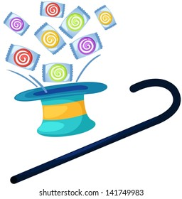illustration of isolated magic hat with candies on white