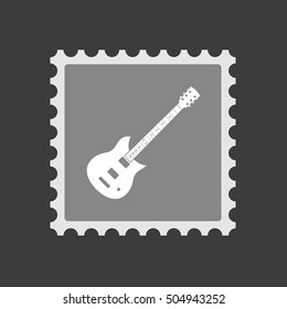 Illustration of an isolated mail stamp icon with  an electric guitar