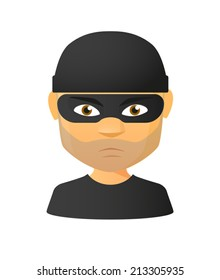 Illustration of an isolated male thief avatar
