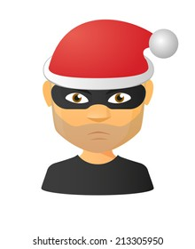 Illustration of an isolated male thief avatar wearing a santa hat