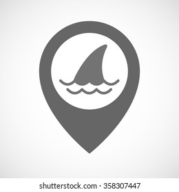 Illustration of an isolated map marker with a shark fin