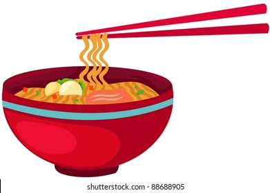 illustration of isolated noodles food with chopsticks on white
