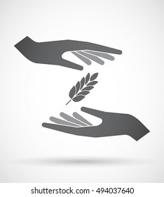 Illustration of an isolated pair of hands protecting or giving  a wheat plant icon