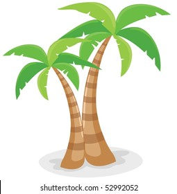 illustration of isolated palm trees with coconut on white background