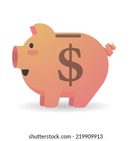 Illustration of an isolated piggy bank with a currency sign
