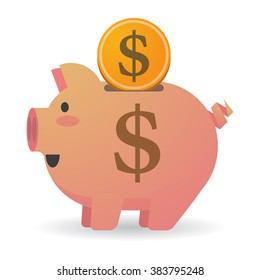 Illustration of an isolated piggy bank with a dollar sign