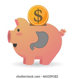 Illustration of an isolated   piggy bank   with  a healthy human stomach icon
