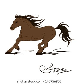 Illustration of isolated racing horse