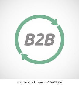 Illustration of an isolated recycle or reuse sign with    the text B2B