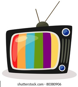 illustration of isolated a  retro tv with color screen on white