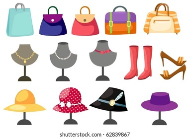 illustration of isolated set of accessories women on white