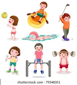 illustration of isolated set of activity boys and girls exercise