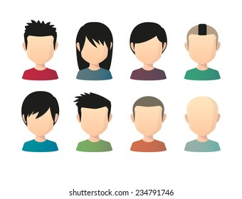 Illustration of an isolated set of Asian male faceless avatars with various hair styles