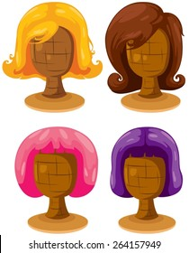 illustration of isolated set of colorful woman wigs