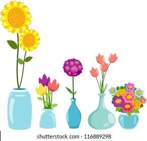 illustration of isolated set of  flowers in vases on white