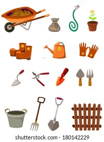 illustration of isolated set of garden tools on white