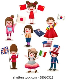 illustration of isolated set of international childrens holding flag