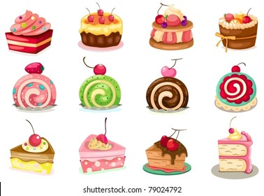 illustration of isolated set of pieces of cake on white