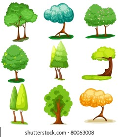 illustration of isolated set of tree on white background