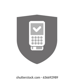 Illustration of an isolated  shield with  a dataphone icon