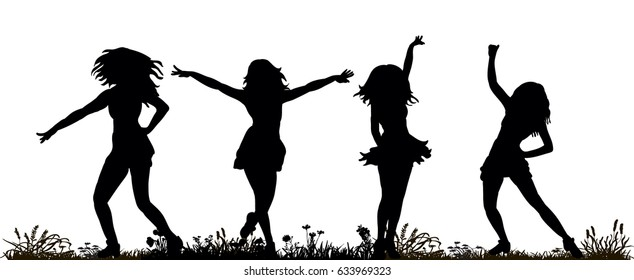 illustration of an isolated silhouette of a girl dancing