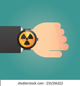 Illustration of a isolated smart watch icon with a radioactivity sign