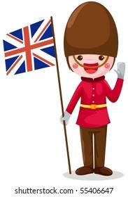 illustration of isolated soldier holding United kingdom flag on white