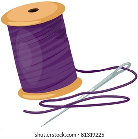 illustration of isolated spool with threads and needle on white