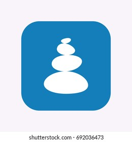 Illustration of a isolated square flat color button with  a stacked zen stones