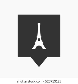 Illustration of an isolated tooltip icon with   the Eiffel tower