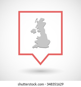 Illustration of an isolated tooltip line art icon with  a map of the UK