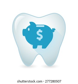Illustration of an isolated tooth icon with a piggy bank