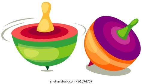 illustration of isolated toy top on white background