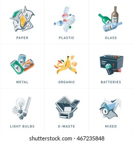 Illustration of isolated trash separation categories with organic, paper, plastic, glass, metal, e-waste, batteries, light bulbs and mixed garbage. Waste types segregation recycling cartoon style.