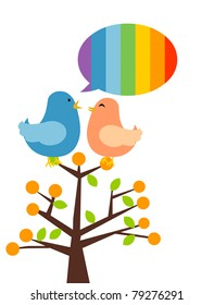 illustration of isolated two birds on branch talking. Rainbow speech bubble