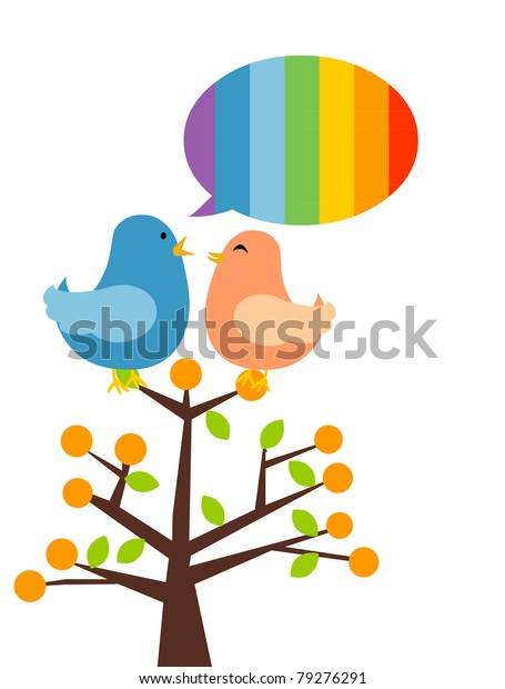 illustration of isolated two birds on branch talking. Rainbow speech bubble