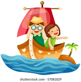 illustration of isolated two kids sailing in the sea on white