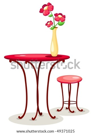 Illustration Isolated Vase Flowers Table Chair Stock Vector Royalty