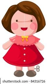 illustration of isolated windup doll on white background